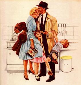 femme au foyer et mari rentrant du travail l 39 volution