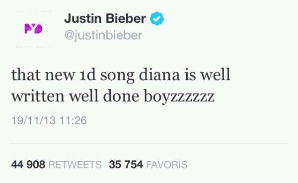 Justin Bieber est Fan de Diana !!