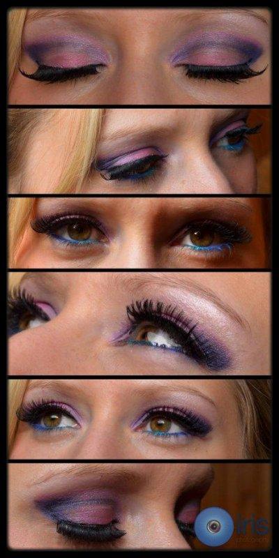 Maquillage rose et bleu