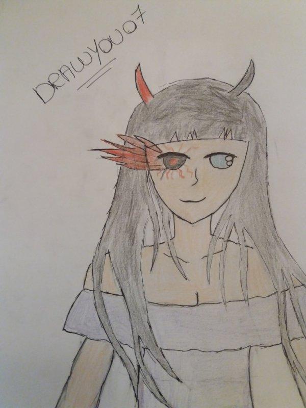 Troisième dessin : mi humaine,mi démon
