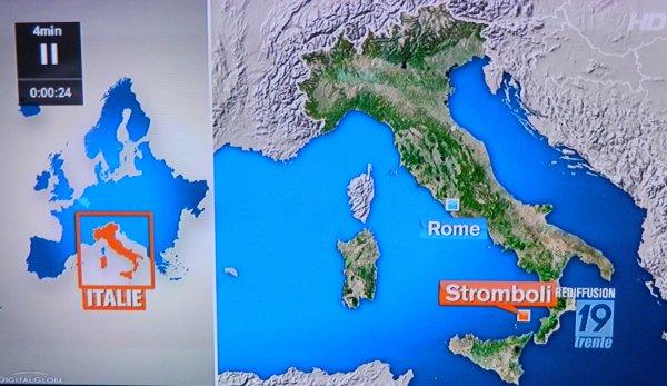 Le volcan Stromboli au JT de 19h30 de la RTBF du 05/08/2013
