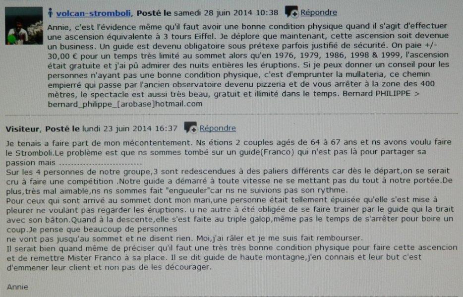Remarque d'Annie à propos de l'ascension du Stromboli en 2014 et ... ma réponse