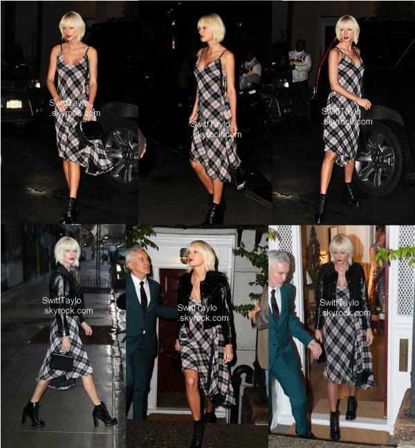 .  •• Candid : Taylor a été aperçue hier soir   Taytay portait une robe à carreau avec une veste en cuir et des bottines à talons. Je n'aime pas trop la coupe de la robe mais le reste, j'aime beaucoup, c'est donc un BOF pour moi  .