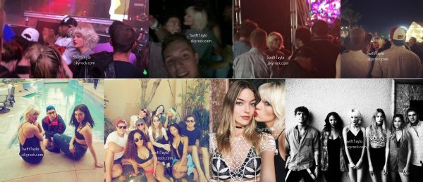 .  16/04/16 : Taylor a été aperçue au célèbre festival musical Coachella   Taylor a été vue avec sa toute nouvelle couleur de cheveux, elle est désormais blonde platine. Sur certaines photos, elle apparait en compagnie de ses amis ou d'autres stars telle que, par exemple, la chanteuse Lorde  .