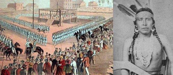 26 décembre 1862. Pendaisons de 38 Sioux pour rébellion dans le Minnesota.