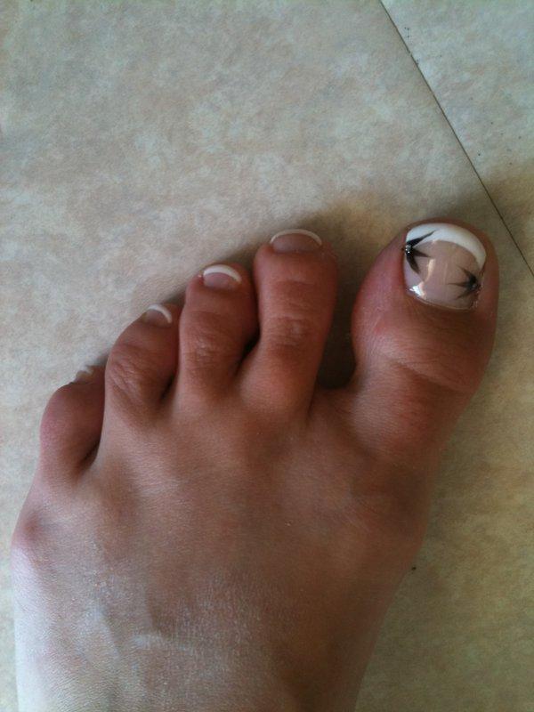 french pieds déco double fleur noire