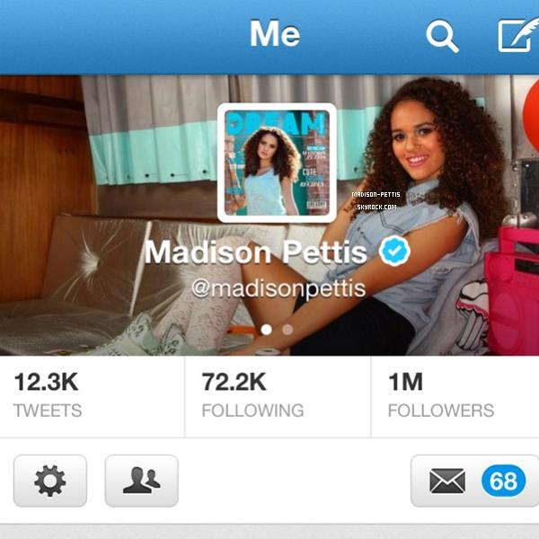bravo a madison qui vient d'avoir 1 Millions d'abonnes sur twitter