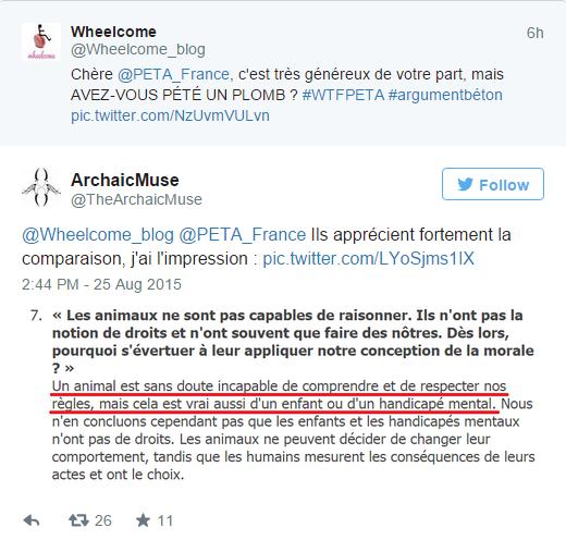 Paris: «Un handicapé a des droits même si il n'est pas mignon ou si personne ne l'aime» selon PETA