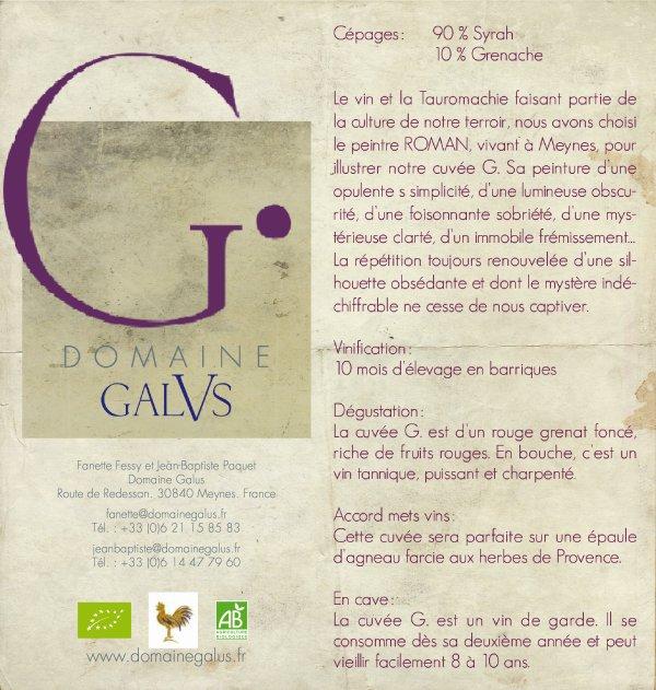 GALUS : Fanette et Jean-Baptiste les heureux propriétaires du Domaine Galus m'ont demandé de créer l'étiquette de la nouvelle cuvée G.