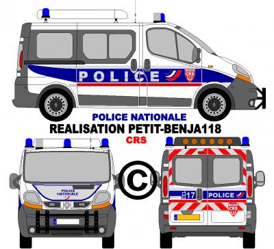 Renault trafic combi police nationale crs france - Dessiner un camion de pompier ...