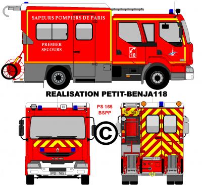 Renault midlum premier secours ps 165 brigade des sapeurs - Camion de pompier a dessiner ...