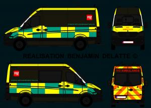 New Mercedes Sprinter Ambulance (Battenburg stripping A.M.U. 112 BE)