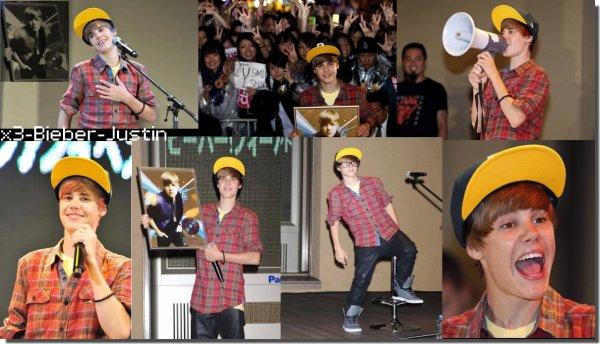 Justin  lors d'un événement organisé à Tokyo Dome City. Avec une casquette trés jaune .