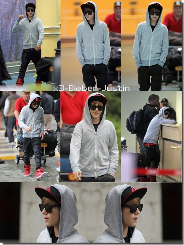 Justin arrivant à Vancouver ( le 14 )