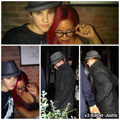 """Justin au restaurant à New York avec Rihanna , il rencontre les auteurs de la Dan Kanter Song et une photo d'une interview pour le """"Guardian"""""""