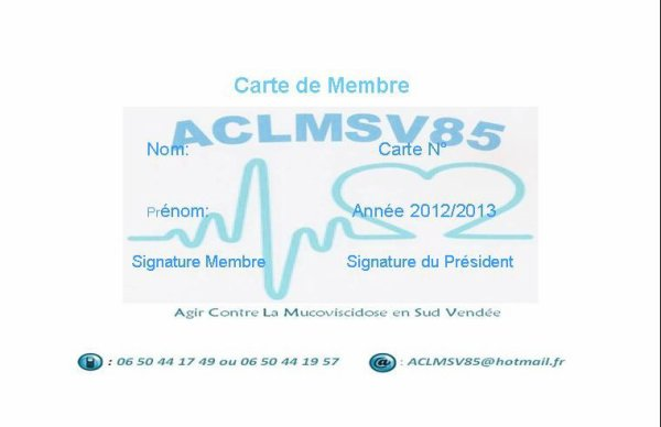 carte d'adhésion a l'asso (15¤)