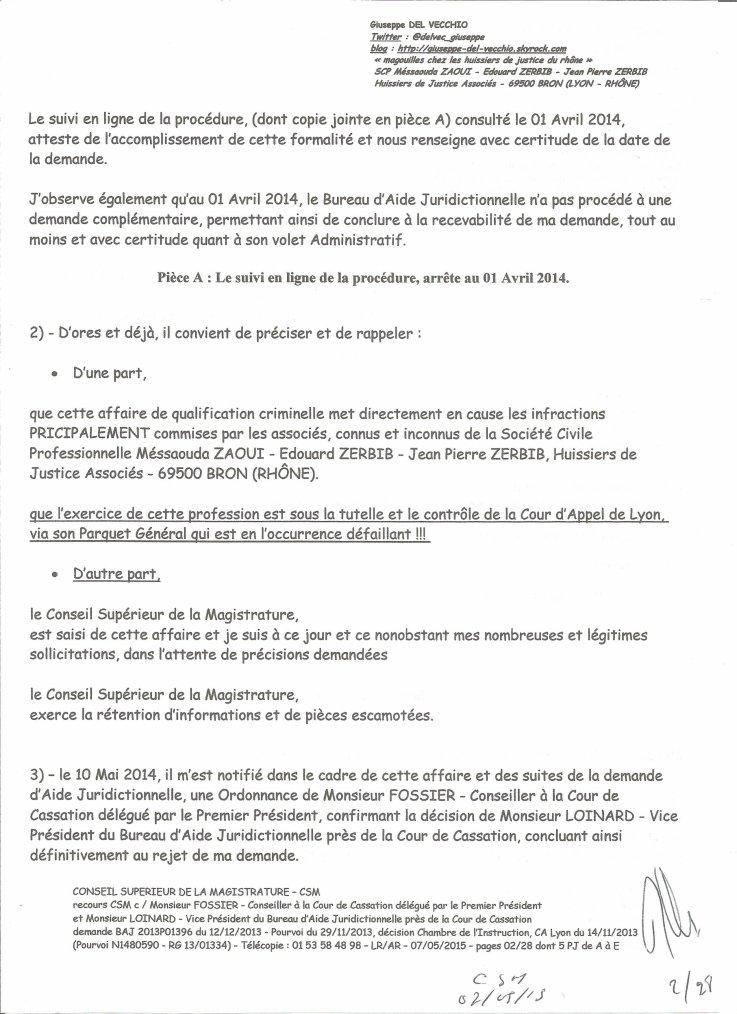 1 CONSEIL SUPERIEUR DE LA MAGISTRATURE Monsieur le Prsident de
