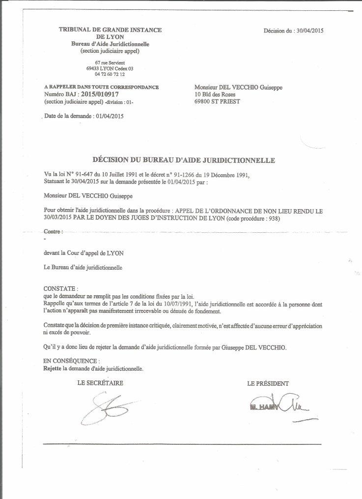TRIBUNAL DE GRANDE INSTANCE DE LYON Saint PRIEST le 21 Mai 2015