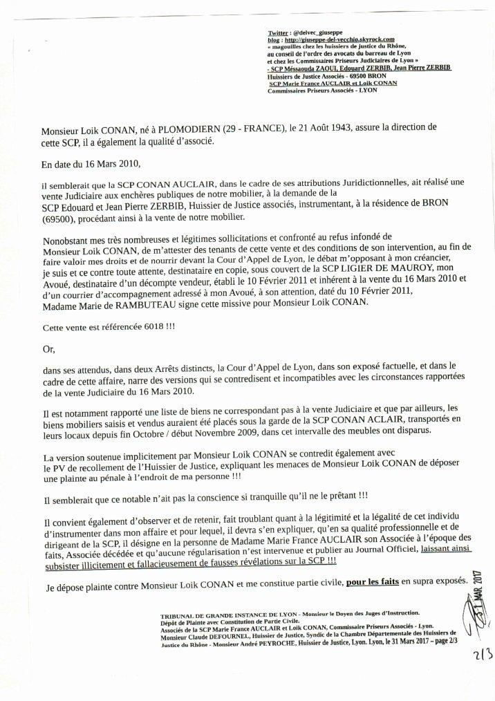 D p t de plainte avec constitution de partie civile - Chambre departementale des huissiers de justice ...