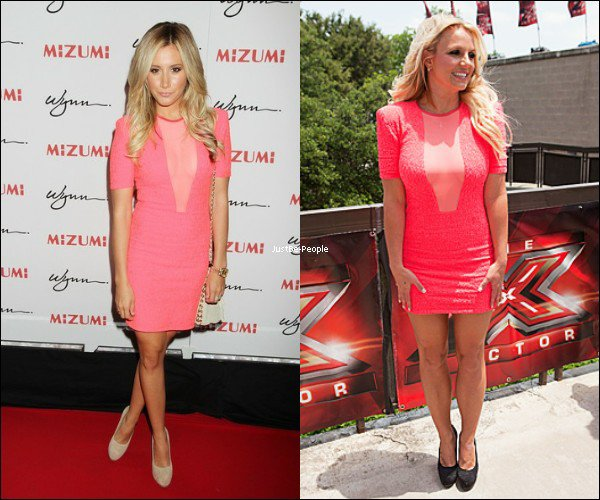 o ooJustBe-People  ooooo BRITNEY & ASHLEY : QUI PORTE LE MIEUX LA ROBE ROSE BRIAN LICHTENBERG ?  o