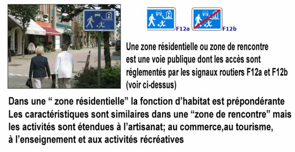 ZONES RESIDENTIELLES ou ZONES DE RENCONTRES