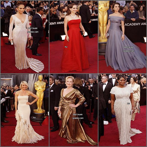 ..RUBRIQUE : Événements / Galas  ..  ❀ _ Oscars 2012 : Découvrez les tenues de diverses célébrités lors des Academy Awards ;)  Vos préférées ? Tops / Bofs / Flops ? Voici la liste des gagnants de cette cérémonie ! _ ❀ ..
