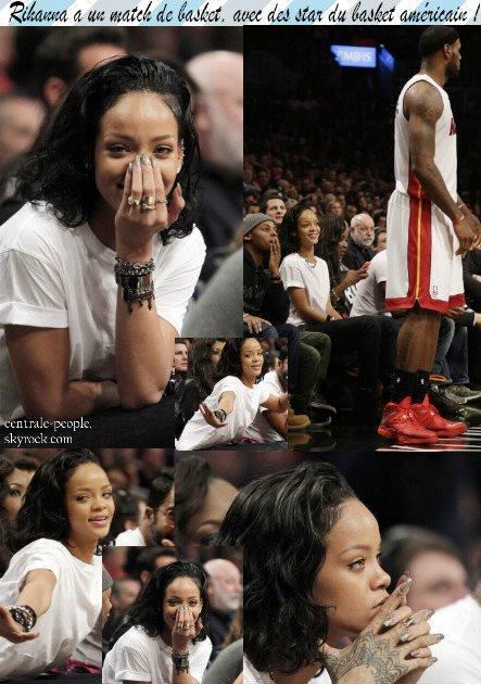 Rihanna apercus a un match de Basket