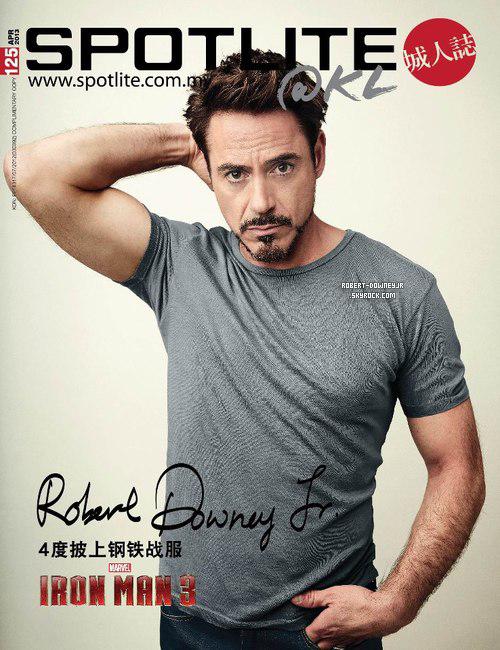 | Médias | Une de Spotlite & Premiere Avril 2013 - Agenda promo Iron Man 3