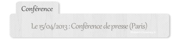 | Conférence | Conférence presse Paris + covers mai 2013