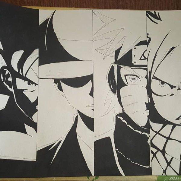 Goku, Luffy, Naruto et Natsu