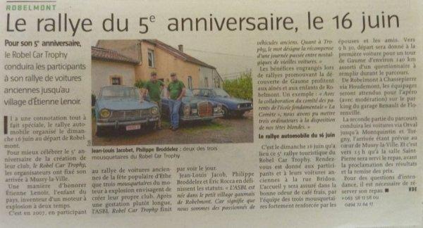 Article dans la presse qui annonce notre Rallye du 16 Juin 2013.....