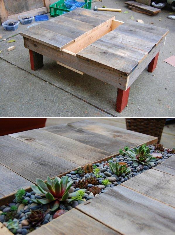 table basse d'extérieur avec incrustation pour plantations au centre