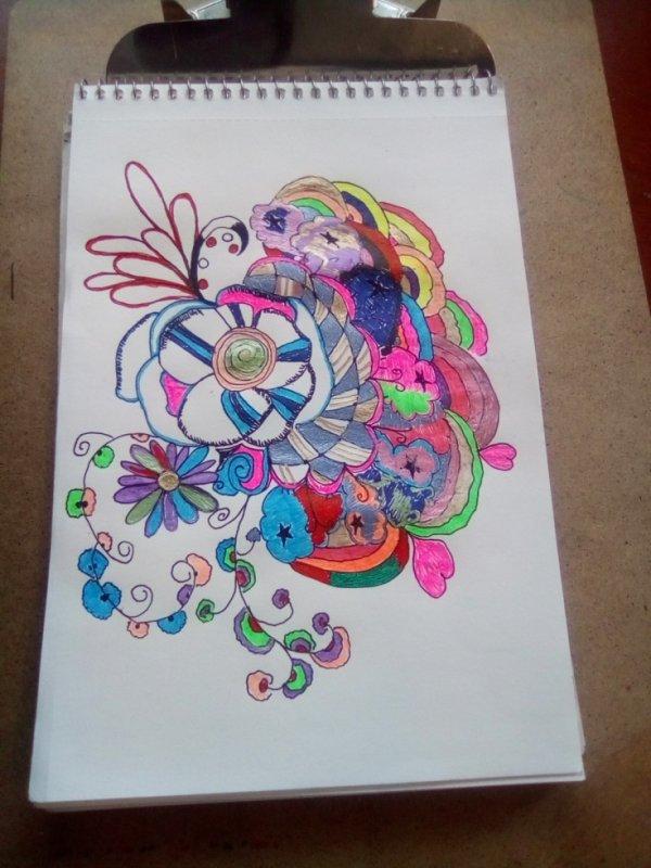Flower rainbow doodle