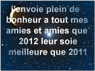 je vous souhaites à tous de trés bonnes fêtes de fin d'année et que la prochaine (2012) soit encore meilleur que celle-ci