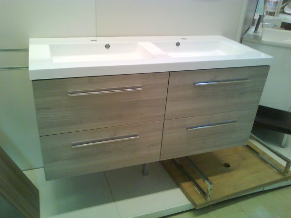 meuble suspendu 120 cm double vasque avec tiroir frein construction maison. Black Bedroom Furniture Sets. Home Design Ideas