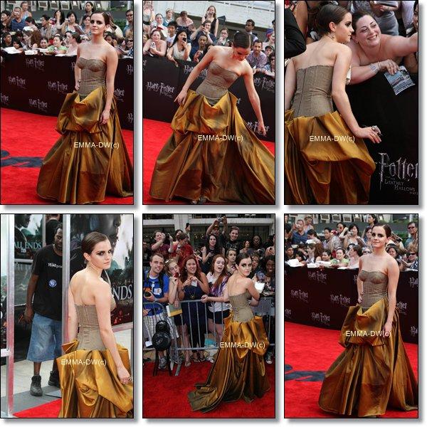 10/07/2011:Emma été a la première de HP7 partie deux a NYC.Elle portait une robe plutot biscornu.Mais cela rester sobre et classe.