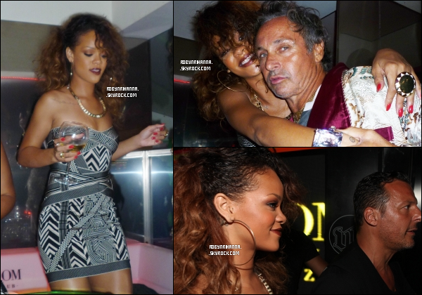 """. 22 août ▬ Notre chateuse préferée, Rihanna, a été aperçue au """"VIP Room"""" de Saint-Tropez. + Un tout premier extrait du clip « Fly » sera dévoilé le 28 août prochain, lors du pré-show des «MTV Video Music Awards» .."""