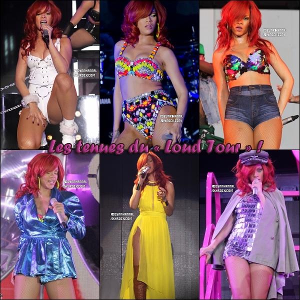 """. Loud Tour ▬ Voici quelques tenues de scènes de la tournée de Rihanna, le """" Loud Tour """" ! Aimes-tu les tenues en général ? Quelles sont tes préferées ? Iras-tu à un des concerts de la tournée ? Si oui, où et quand ?."""
