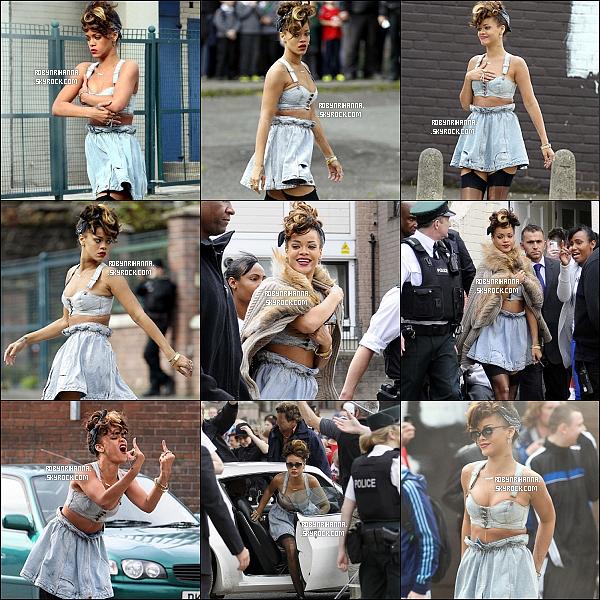 """.  *On The Set* '-'  Second tournage de notre Rihanna pour « We Found Love » !  Cette fois, la belle a été vue à Belfast, en plein centre ville pour la suite du tournage du clip de """"We Found Love"""".."""