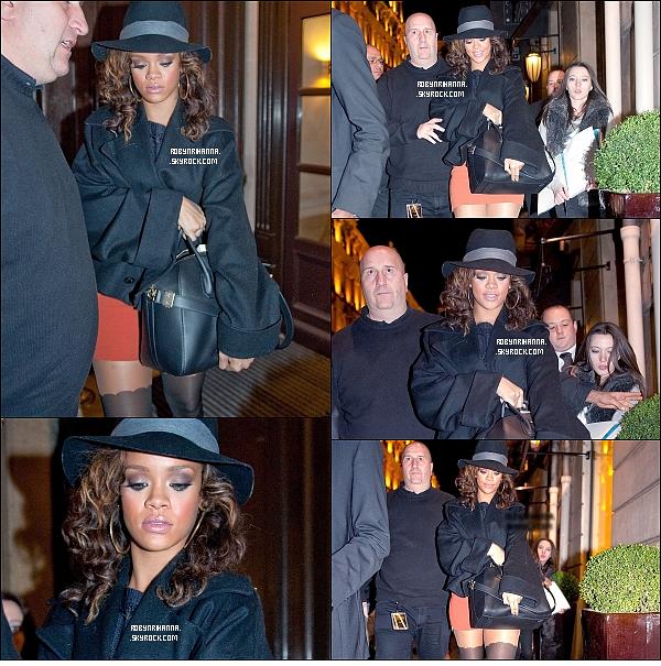 . 21/10 - Notre belle Rihanna a été vue retournant à son hôtel, à Paris. Top ou Flop ? .