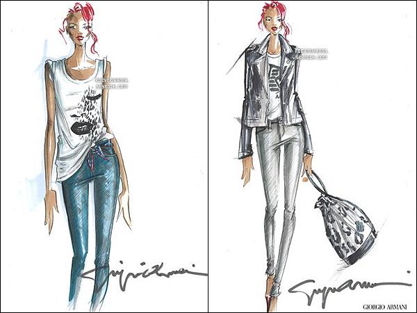 . • Voci la nouvelle collection de vêtements et sous-vêtements d'Armani signés Rihanna. .