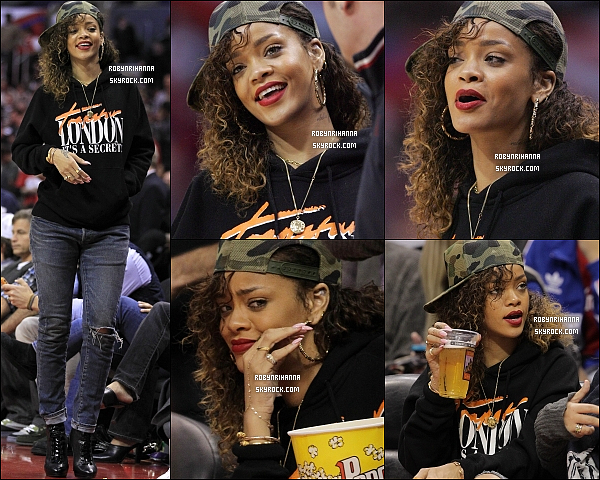 * 11/01/2012 :*  Rih a une fois de plus assistée à un match de basket des Los Angeles Clippers à Los Angeles.  + Le site Billboard.com a confirmé que le titre de Riri « We Found Love » avait retrouvé sa place de numéro 1 au Billboard Hot 100. *