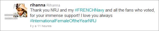 """. RIHANNA A REMPORTÉE UN PRIX AUX """"NRJ MUSIC AWARDS 2012"""" ! Celui de l' """"Artiste Féminine International de l'Année"""" ! Elle n'était malheureusement pas présente à l'évenement .. ."""