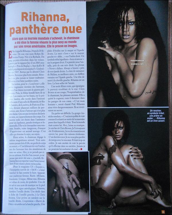 """. RIHANNA DANS UN MAGAZINE BELGE, LE """"CINÉ TÉLÉ REVUE"""" !.  C'est à ma plus grande surprise, en feuilletant ce magazine, que j'ai découvert ces deux pages consacrées à notre belle Rihanna. Je me suis donc amusée à photographiée ces deux pages pour vous les faire partager .. La page est très bien rédigée, ils expliquent pleins de choses sur elle comme de ses débuts, du """"Loud Tour"""", des photos pour """"Esquire"""", ses tatouages, l'histoire avec Chris Brown etc.. J'ai totalement craquée pour les photos issues du photoshoot pour le magazine américain """"Esquire"""" (magazine qui l'a élue femme la plus sexy du monde).. J'espère que vous savez lire sur la photo. Ou mieux, que vous irez l'achetez si vous avez la chance d'être belge ! x)."""