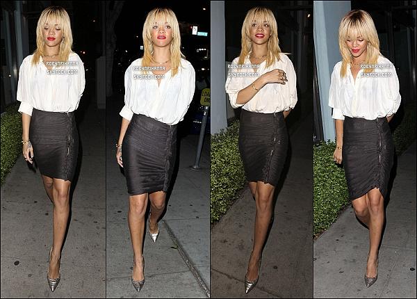* 08/02/2012':' Notre belle Rihanna est allée dîner à la pizzeria « Mozza », toujours à Los Angeles. + Drake et Rihanna ont tournés le vidéo clip  de « Take Care », chanson extrait du nouvel album de Drake ! J'ai trop trop hâte :D. *