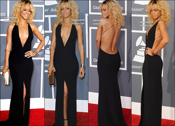 """. RIHANNA ÉTAIT PRÉSENTE AUX « GRAMMY AWARDS » 2012..  Ce 12 février 2012 a eu lieu la 54ème cérémonie des « Grammy Awards » à Los Angeles. Et pour notre plus grand plaisir, Rihanna plus belle que jamais, avec une superbe robe noir """"Armani"""", était présente à l'évenement et a même performé, """"We Found Love"""" et """"Princess Of China"""" avec Coldplay. Elle a aussi été photographiée avec plusieurs stars dans les audiences tel que Katy Perry, Paris Hilton, Kelly Rowland ou encore dans les coulisses. Rihanna a finalement remporté 2 prix, en collaboration avec Kanye West pour la chanson """"All Off The Lights"""". Félicitations à eux !. Rihanna n'a pas fini de nous émerveiller, en effet elle sera aussi présente aux """"Brit Awards"""" le 21 février.."""