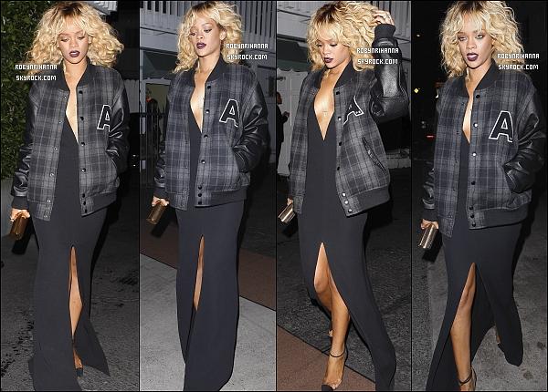 * 12/02/2012':' Après les « Grammy Awards », Rihanna est allée dîner au restaurant « Giorgio Baldi ».  Ensuite, notre magnifique Barbadienne elle est allé danser au club « Greystone » à Los Angeles, pour pas changer. T'aimes sa tenue ? *