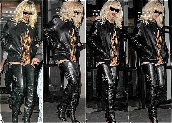 """* 27/03/2012':' La belle Rihanna a tout d'abord été photographiée quittant son hôtel à Londres.  Elle est allé prendre le métro pour aller au concert de Drake. Après le show, elle s'est rendue dans le club """" Mayfair """" pour l'afterparty. *"""