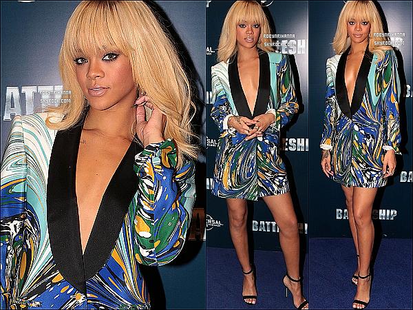 * 29/03/2012':' Rihanna était présente à l'avant-première du film « Battleship » à Londres.  *