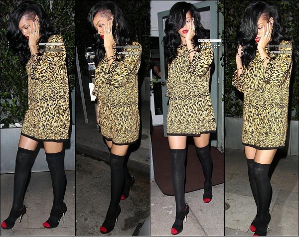 * 12 avril 2012'':' Riri a repris ses bonnes  habitudes en allant « Giorgio Baldi » à Los Angeles. Après avoir dîné dans son restaurant italien favori, le « Giorgio Baldi », la belle Rihanna est allée  faire la fête dans une boîte de nuit. *
